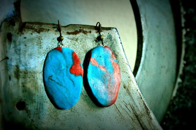pendientes bronce-turquesa
